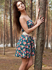 Lachia overwhelming youthful beauty and carefree allure creates a stunning visual treat among the towering pine trees.